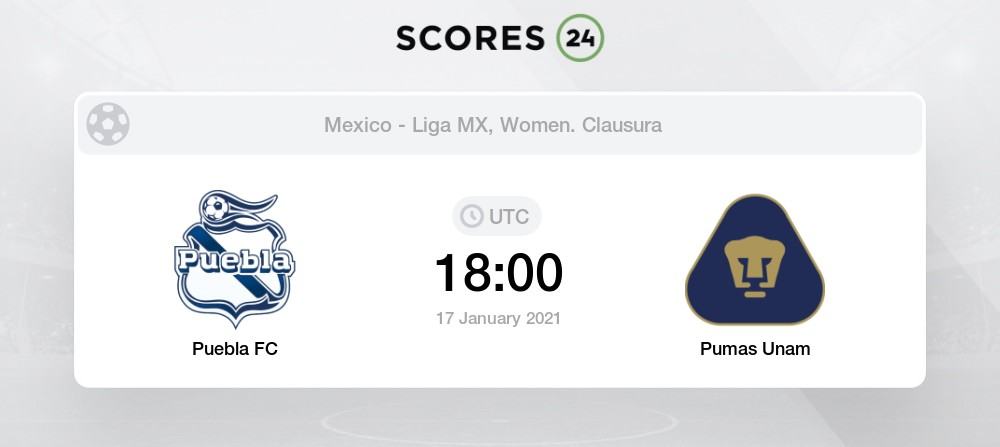 Rascacielos el estudio Llanura  Puebla Fc (W) vs Unam - H2H for 17 January 2021