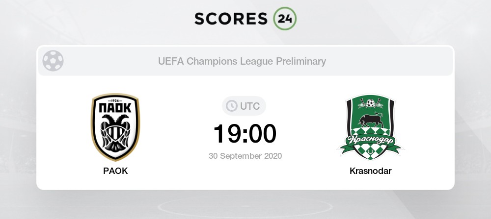 Krasnodar Vs Paok 22 September 2020 Soccer