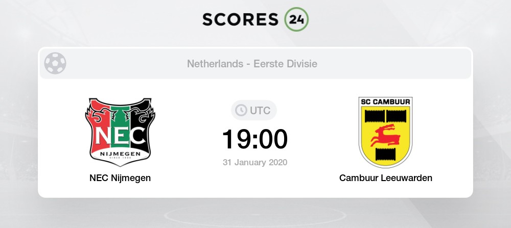 Cambuur Vs Nijmegen H2h For 28 August 2020